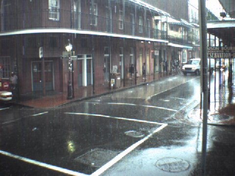 The Corner of Bourbon Street and St. Peter Street in the French Quarter